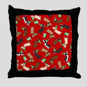 Merry Dachshunds Throw Pillow