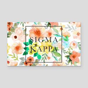 Sigma Kappa Floral Rectangle Car Magnet