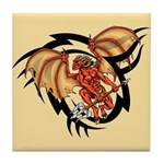 Winged Devil Tattoo Tile Coaster
