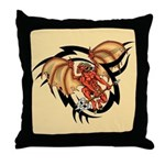 Winged Devil Tattoo Throw Pillow