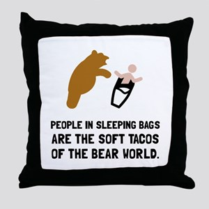 Soft Tacos Bear Throw Pillow
