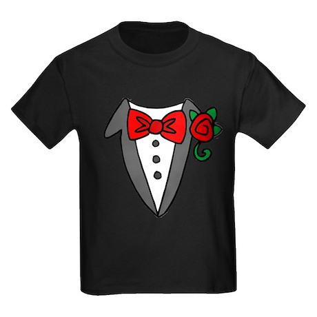 Tuxedo Shirt Kids Dark T-Shirt