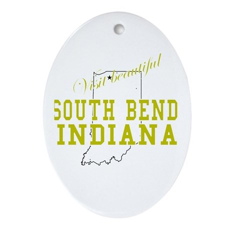 Visit Beautiful South Bend, I Oval Ornament