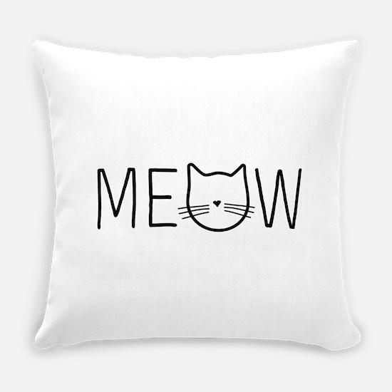 Meow cat face Everyday Pillow