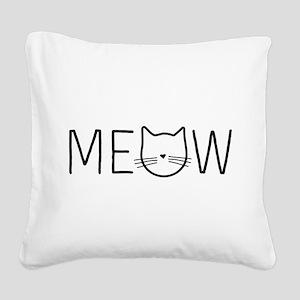 Meow cat face Square Canvas Pillow