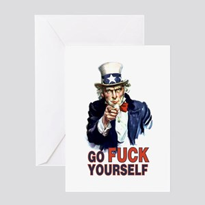 Uncle Sam - Go fuck yourself Greeting Cards