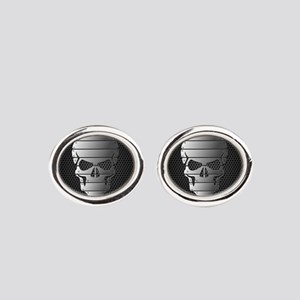 Chrome Skull Oval Cufflinks
