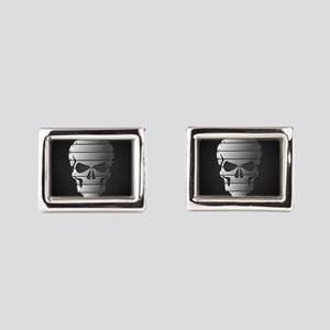 Chrome Skull Rectangular Cufflinks