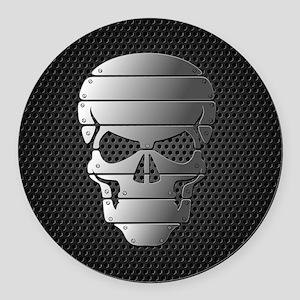 Chrome Skull Round Car Magnet