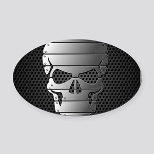 Chrome Skull Oval Car Magnet