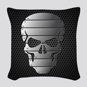 Chrome Skull Woven Throw Pillow