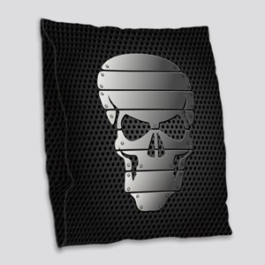 Chrome Skull Burlap Throw Pillow