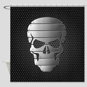 Chrome Skull Shower Curtain