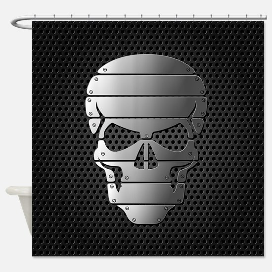 Chrome Skull Shower Curtain