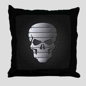 Chrome Skull Throw Pillow