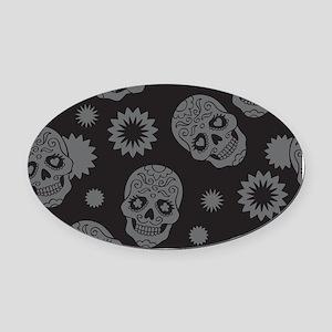 Sugar Skulls Oval Car Magnet