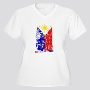 Vintage Philippines Flag Women's Plus Size V-Neck