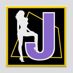 Naughty Initial Design (J) Tile Coaster
