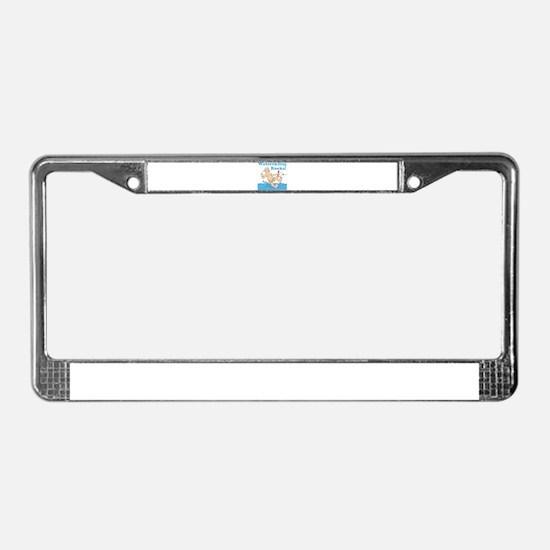 Waterskiing Rocks License Plate Frame