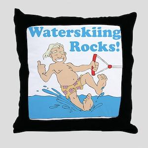 Waterskiing Rocks Throw Pillow