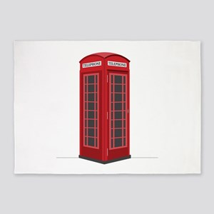 London Phone Booth 5'x7'Area Rug