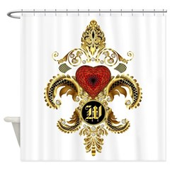 Monogram W Fleur-De-Lis Bf Shower Curtain