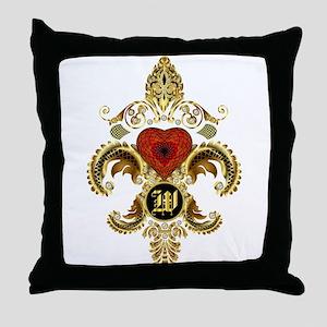 Monogram W Fleur-De-Lis BF Throw Pillow