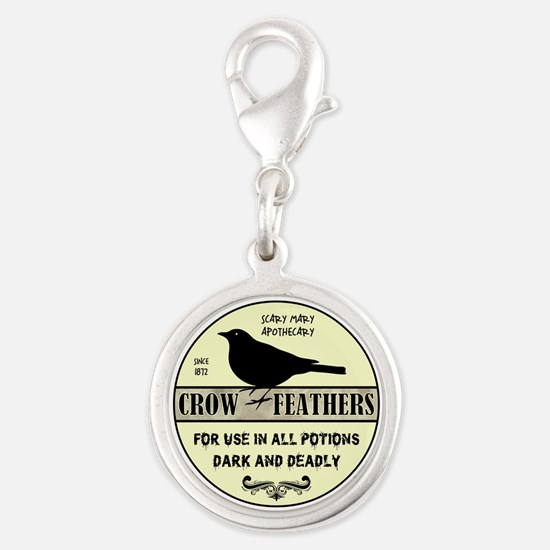 CROW FEATHERS Silver Round Charm