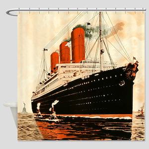 Vintage Ocean Liner Shower Curtain