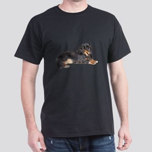 Black Long Hair Dachshund Dark T-Shirt