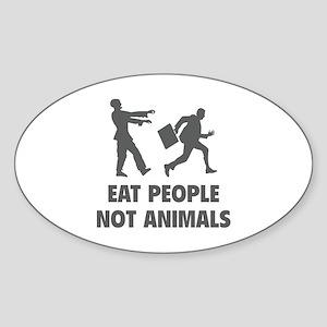 Eat people not animal Sticker (Oval)