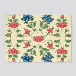 Beautiful Vintage Flora Design 5'x7'Area Rug