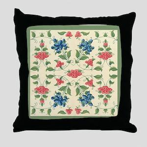 Pastel Tones Vintage Flower and Leaves Design Thro