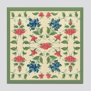 Pastel Tones Vintage Flower and Leaves Design Tile