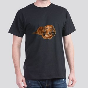 Long Hair Red Dachshund Dark T-Shirt