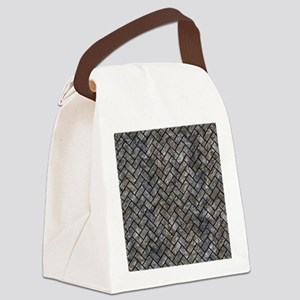 BRICK2 BLACK MARBLE & GRAY STONE Canvas Lunch Bag