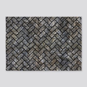BRICK2 BLACK MARBLE & GRAY STONE (R 5'x7'Area Rug