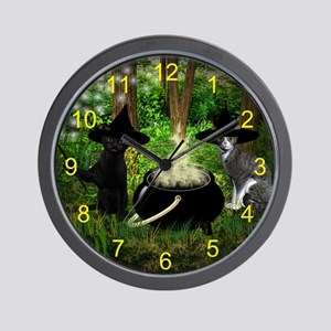 Witch Cats And Cauldron Wall Clock