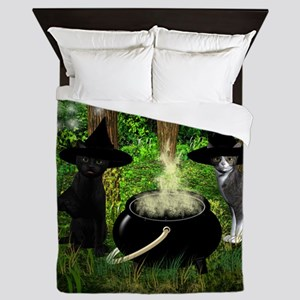 Witch Cats And Cauldron Queen Duvet