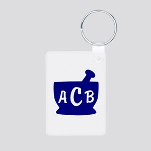 Blue Monogram Mortar and P Aluminum Photo Keychain