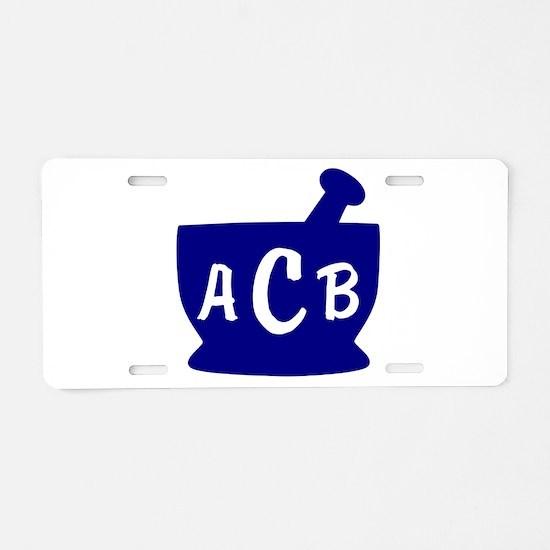 Blue Monogram Mortar and Pe Aluminum License Plate