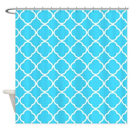 light blue quatrefoil pattern shower curtain by laughoutlouddesigns1. Black Bedroom Furniture Sets. Home Design Ideas
