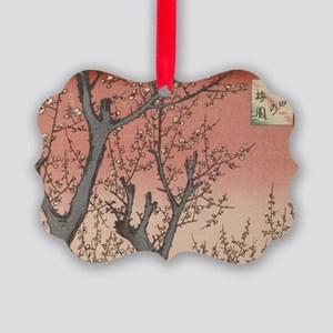 Vintage Tree Blossoms Japanese Garden Woodblock Or