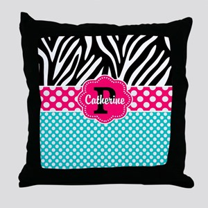Pink Teal Polka Dots Zebra Personalized Throw Pill