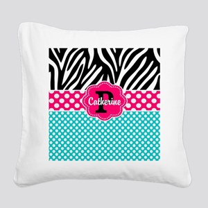 Pink Teal Polka Dots Zebra Personalized Square Can