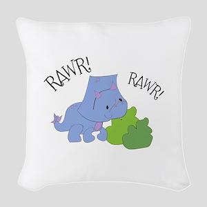 Rawr Dinosaur Woven Throw Pillow