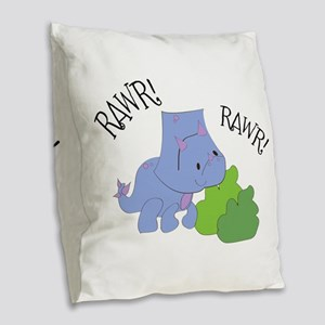 Rawr Dinosaur Burlap Throw Pillow