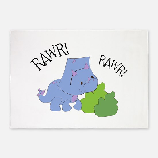 Rawr Dinosaur 5'x7'Area Rug