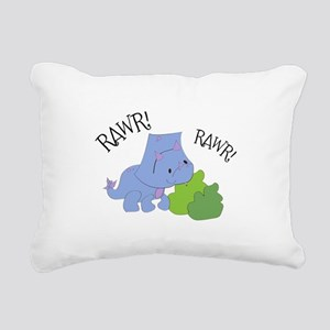 Rawr Dinosaur Rectangular Canvas Pillow