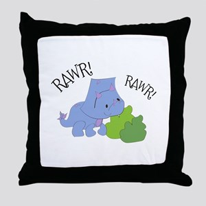 Rawr Dinosaur Throw Pillow